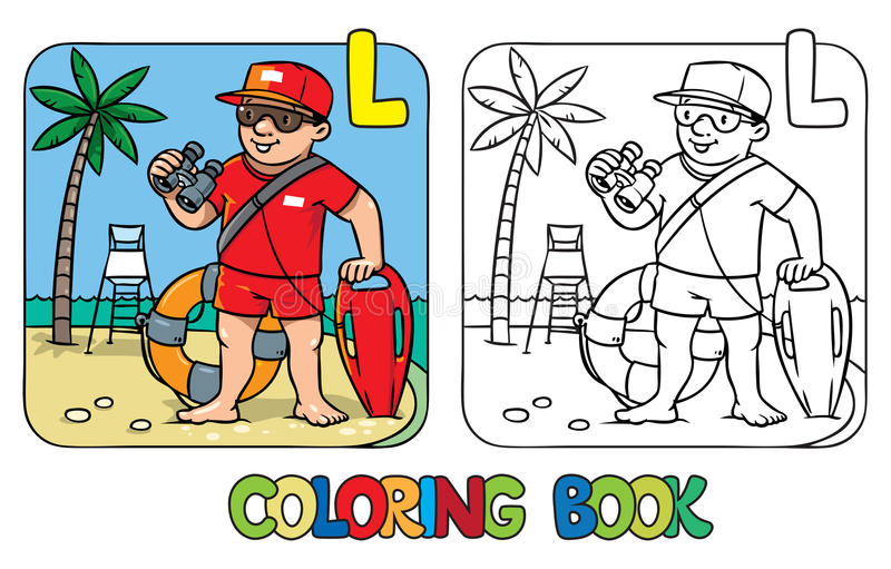 Badmeester kleurend boek Het Beroep ABC van alfabetl vector illustratie