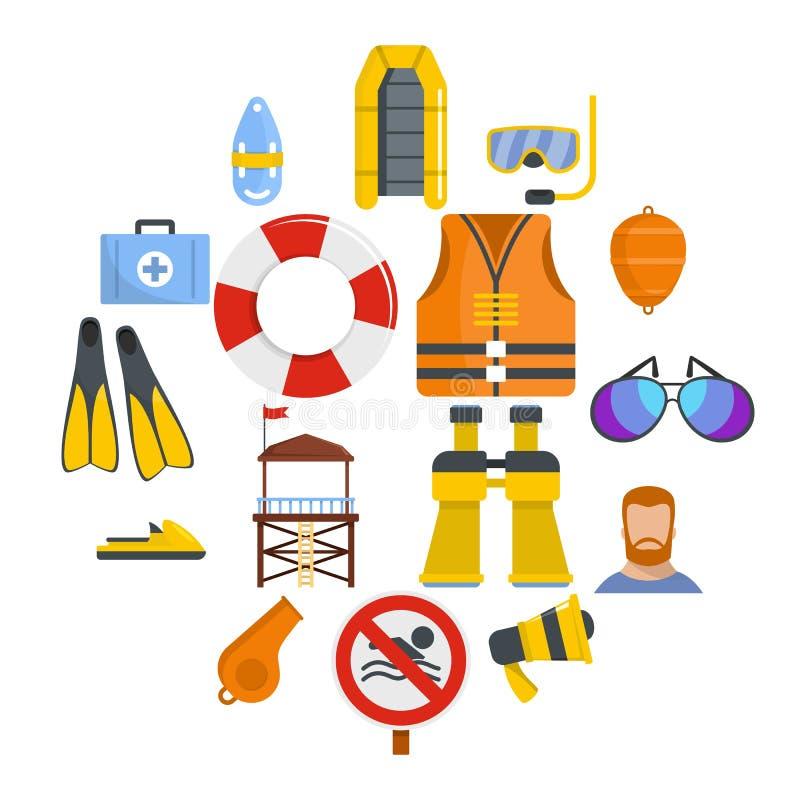 Badmeester sparen geplaatste pictogrammen, vlakke stijl vector illustratie
