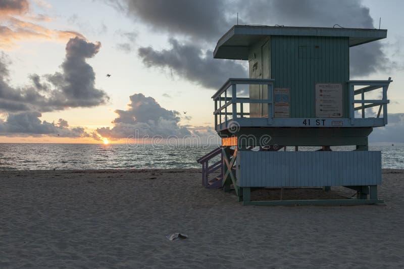 Badmeester Tower bij het Strand Florida van dageraadmiami royalty-vrije stock afbeelding