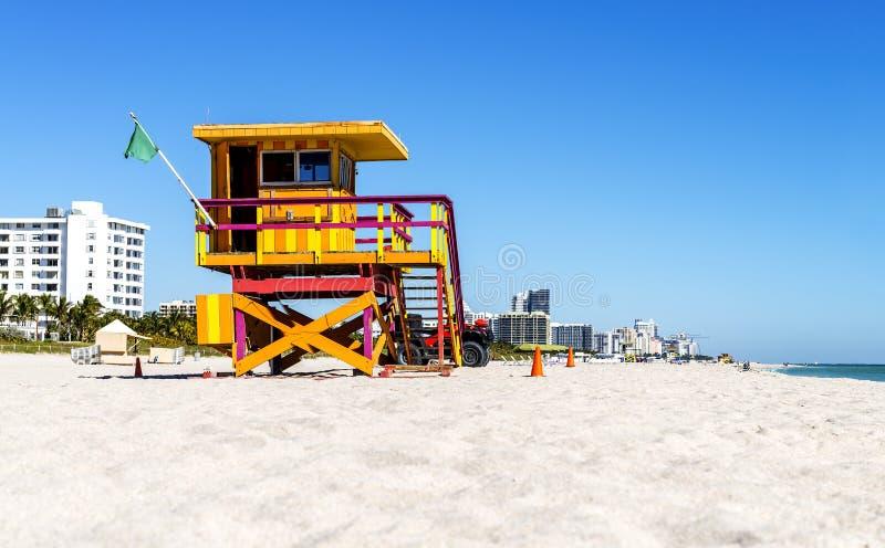 Badmeester Tower, het Strand van Miami, Florida stock foto