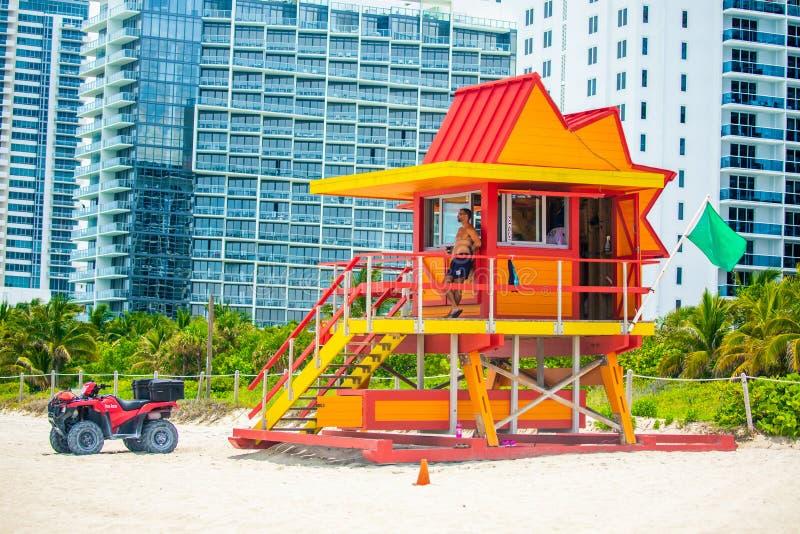 Badmeester Tower Het strand van Miami Zuidenstrand florida De V.S. royalty-vrije stock foto's
