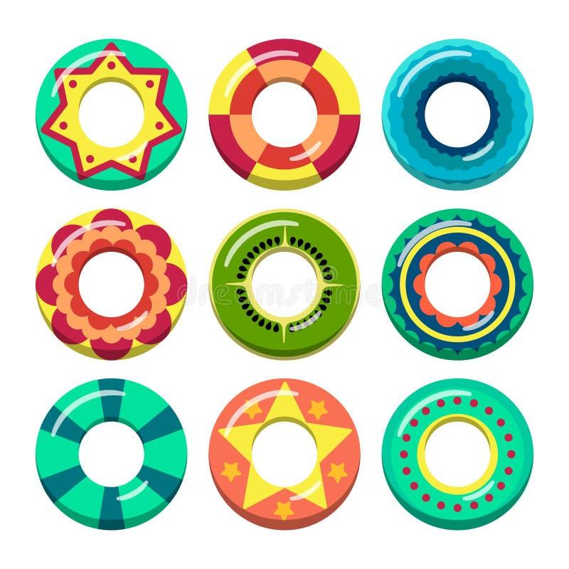 Badmeester zwemmende ringen in verschillende kleuren Vectorillustraties van opblaasbaar speelgoed royalty-vrije illustratie
