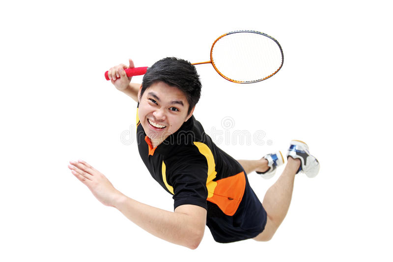 Badminton. Jumping badminton player isolated in white background royalty free stock photos