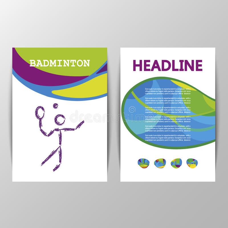 Badminton brochure template of games 2016 Summer royalty free illustration