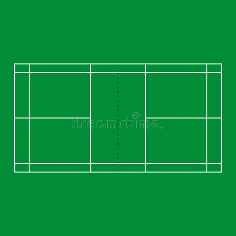 Badminton court background. Green color. Vector eps10 stock illustration