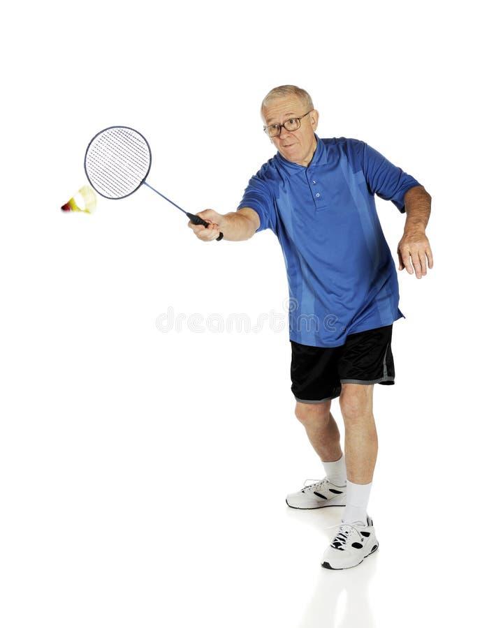 Badminton de jogo sênior imagem de stock royalty free