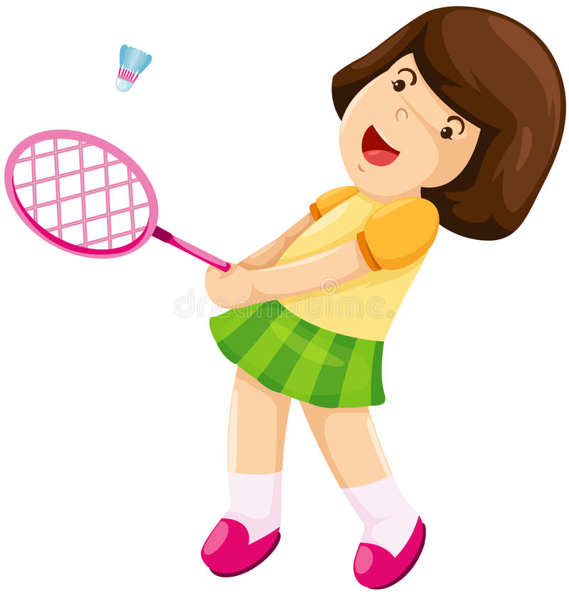 badminton dziewczyny mały bawić się ilustracji