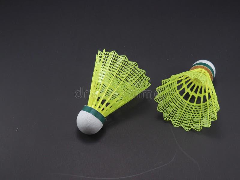 Badminton Geel Plastiek royalty-vrije stock afbeeldingen