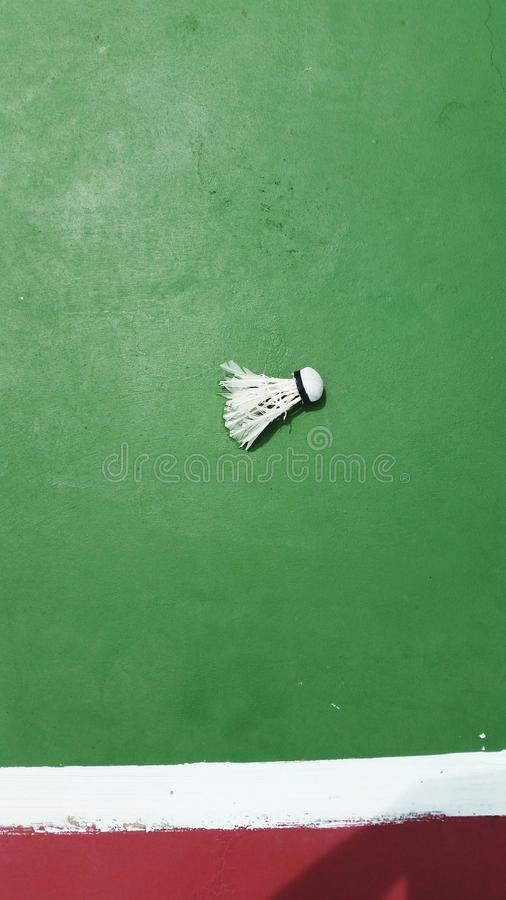 Badminton im grünen Hintergrund lizenzfreie stockfotos