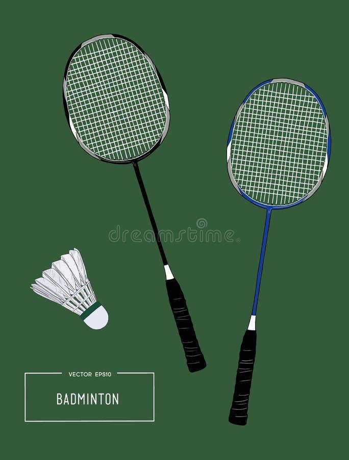 Badminton kant i shuttlecocks Nakreślenie wektor ilustracji