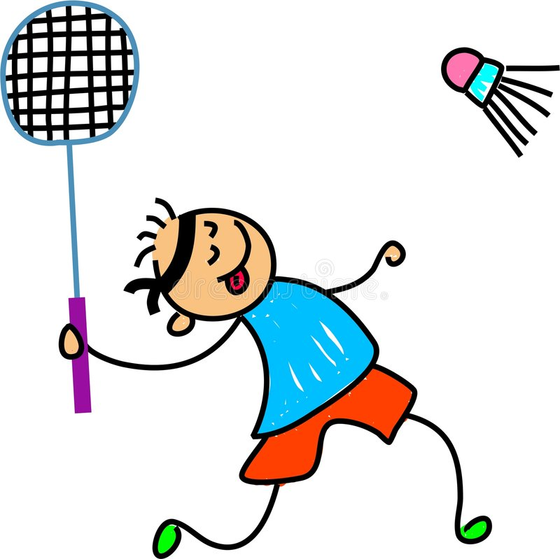 Badminton kid royalty free illustration