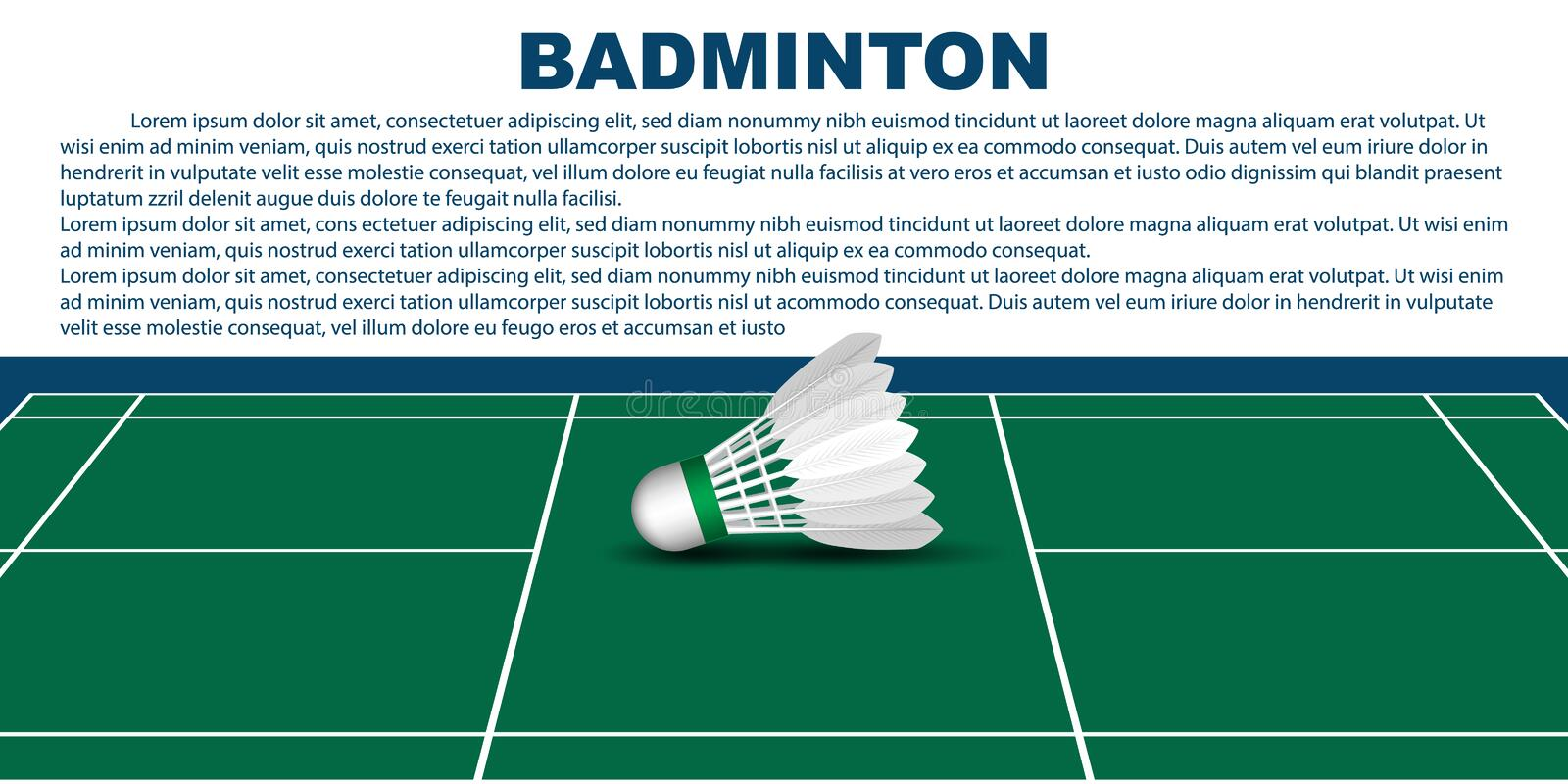 Badminton layout template for brochure or pages. vector illustration