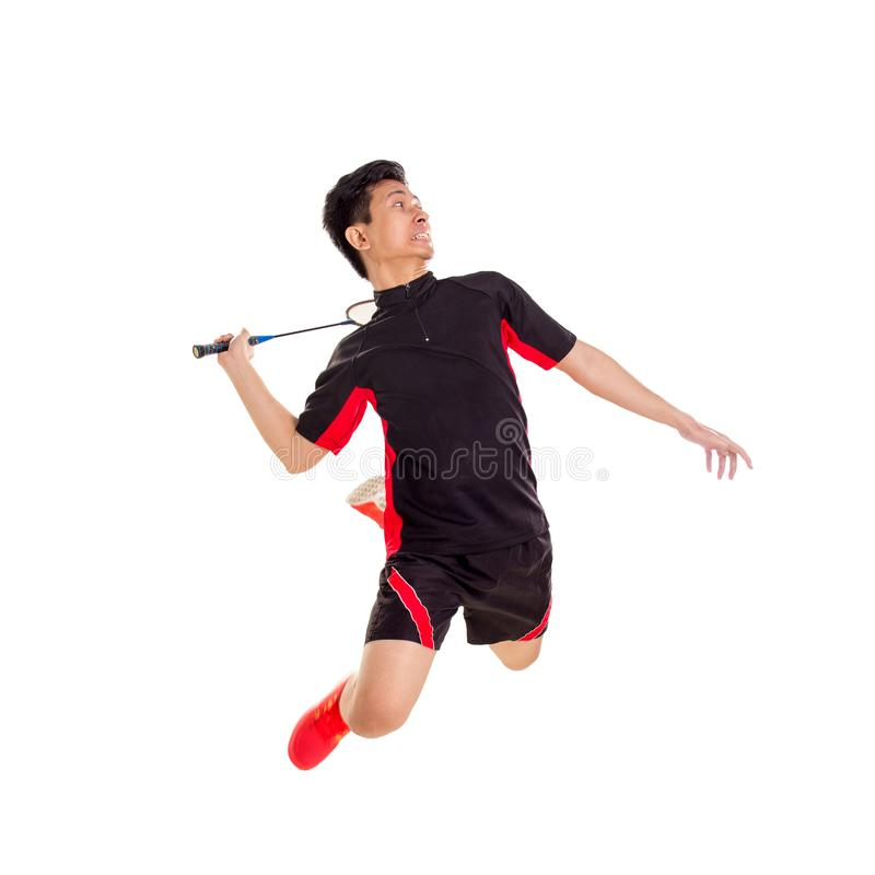 Badminton jump smash. Badminton player jumping smash, isolated over white background stock photography