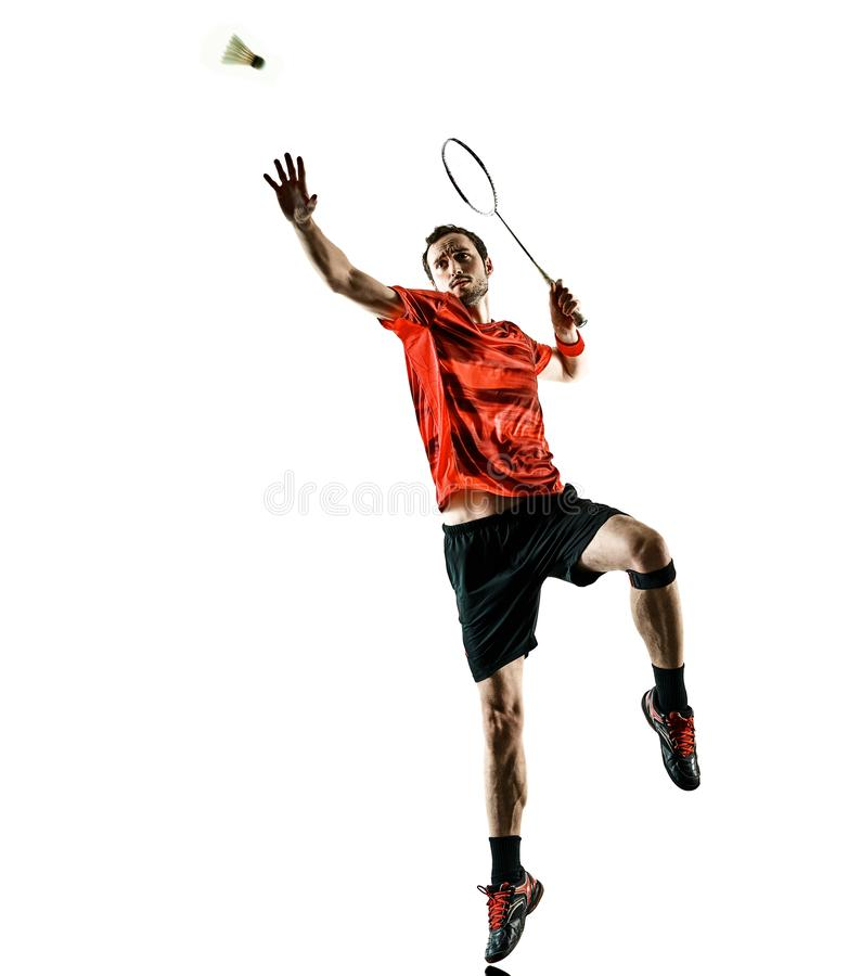 Badminton player man shadow silhouette isolated white backgroun. One caucasian Badminton player man in studio shadow silhouette isolated on white background royalty free stock photo