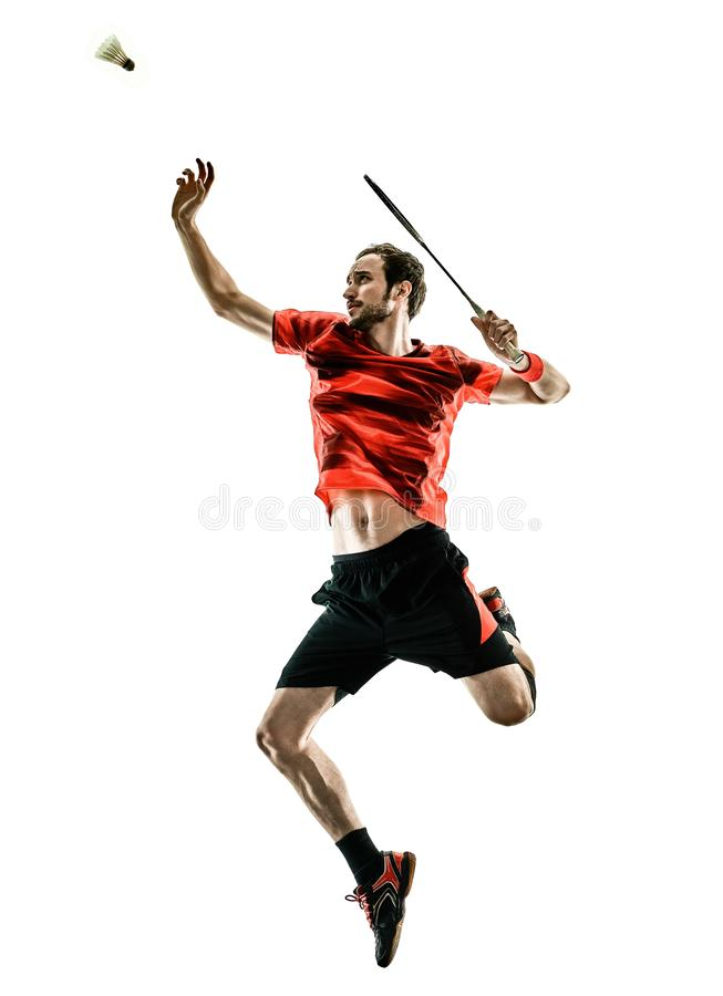Badminton player man shadow silhouette isolated white backgroun. One caucasian Badminton player man in studio shadow silhouette isolated on white background royalty free stock images