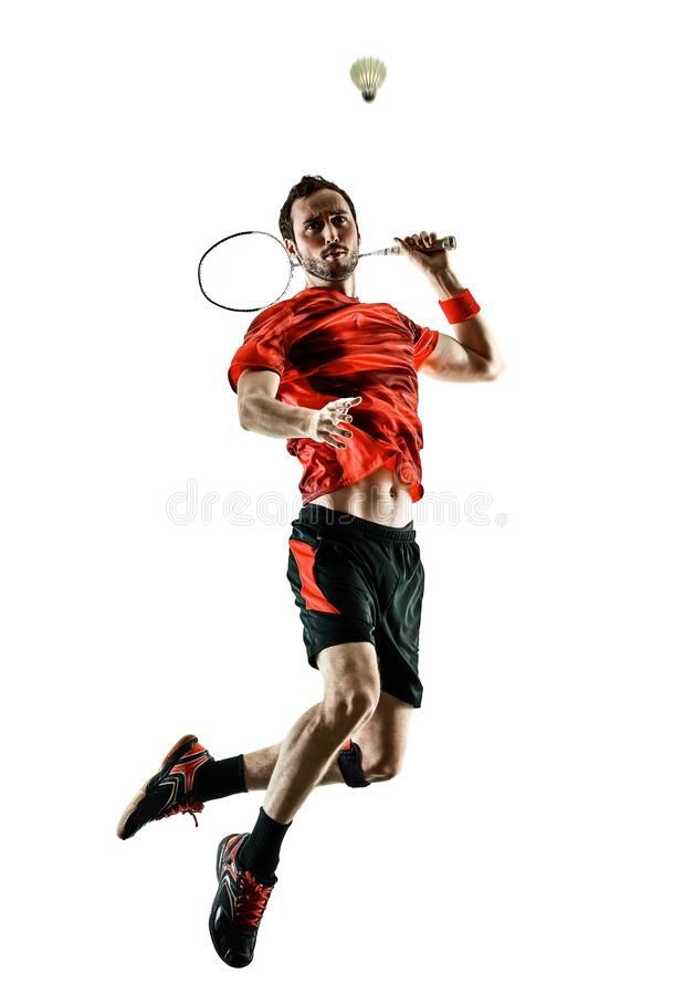 Badminton player man shadow silhouette isolated white backgroun. One caucasian Badminton player man in studio shadow silhouette isolated on white background stock photo