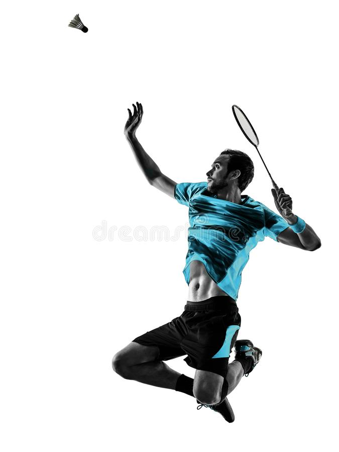 Badminton player man shadow silhouette isolated white background. One caucasian Badminton player man in studio shadow silhouette isolated on white background royalty free stock image