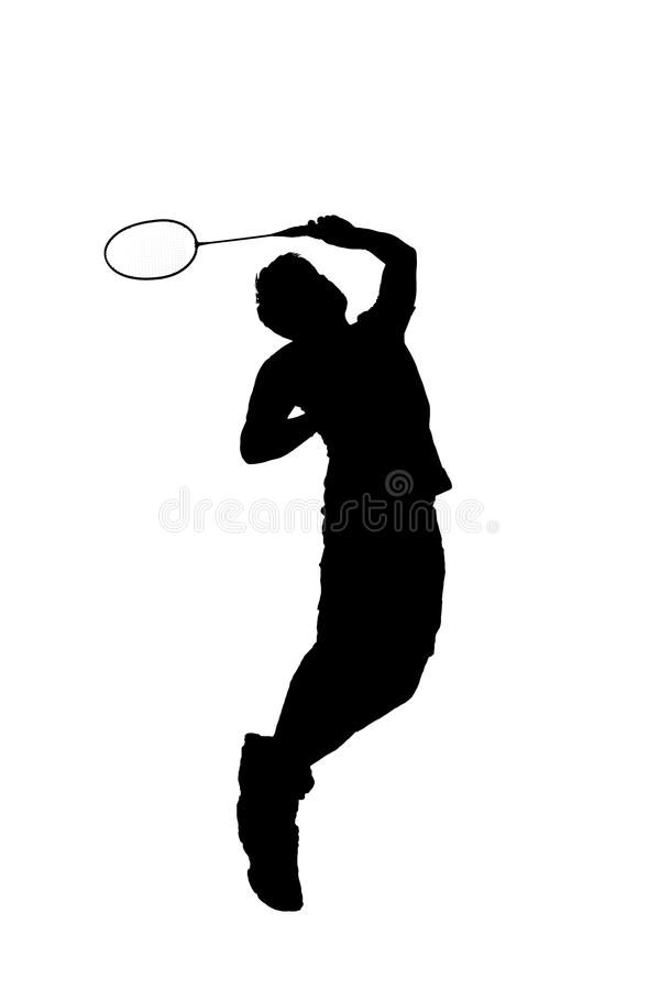 Badminton player. Silhouette of badminton player jumping isolation on white background stock photography