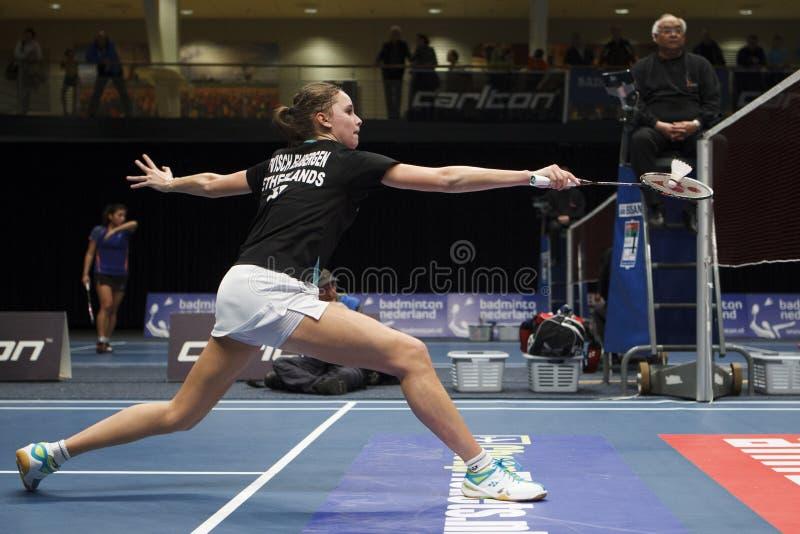 Badminton player Soraya de Visch Eijbergen. ALMERE, THE NETHERLANDS - FEBRUARY 1: Soraya de Visch Eijbergen reaches the semi finals in the National Championships royalty free stock photography