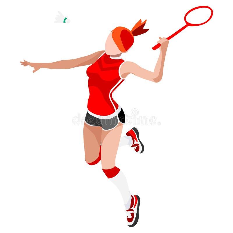 Badminton Player Summer Games Icon Set.3D Isometric Badminton Player. Sporting Championship International Badminton Competition.Olympics Sport Infographic stock illustration