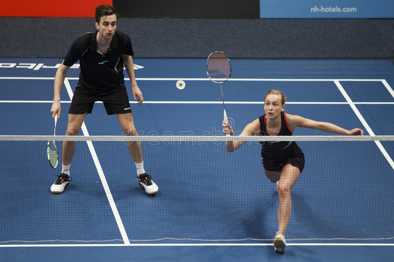 Badminton players Jacco Arends and Selena Piek. ALMERE, THE NETHERLANDS - FEBRUARY 2: Jacco Arends (left) and Selena Piek (right) reach the final in the National stock images