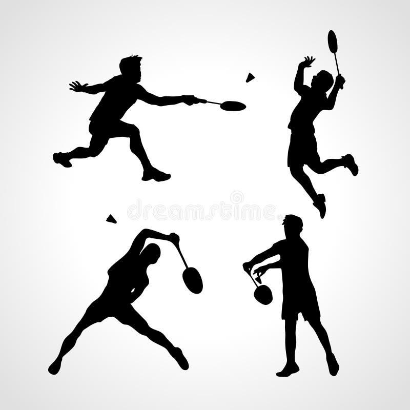 Badminton Players Silhouettes Set royalty free illustration