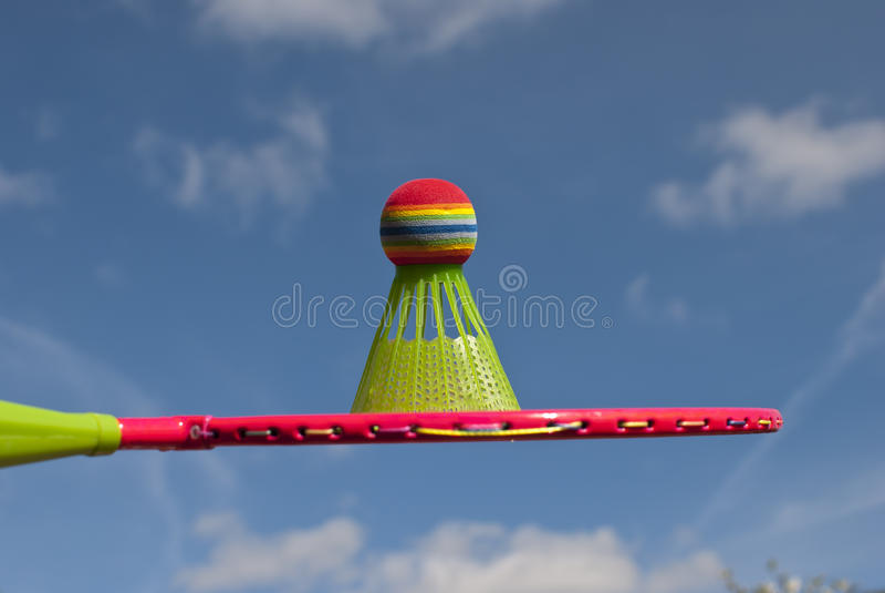 Badminton racket and shuttlecock royalty free stock photo