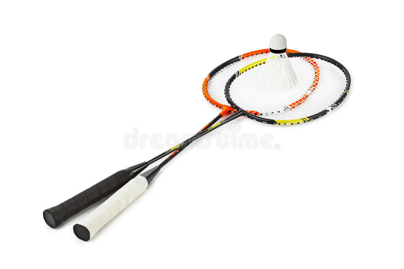 Badminton racket and shuttlecock. Isolated on white background stock images