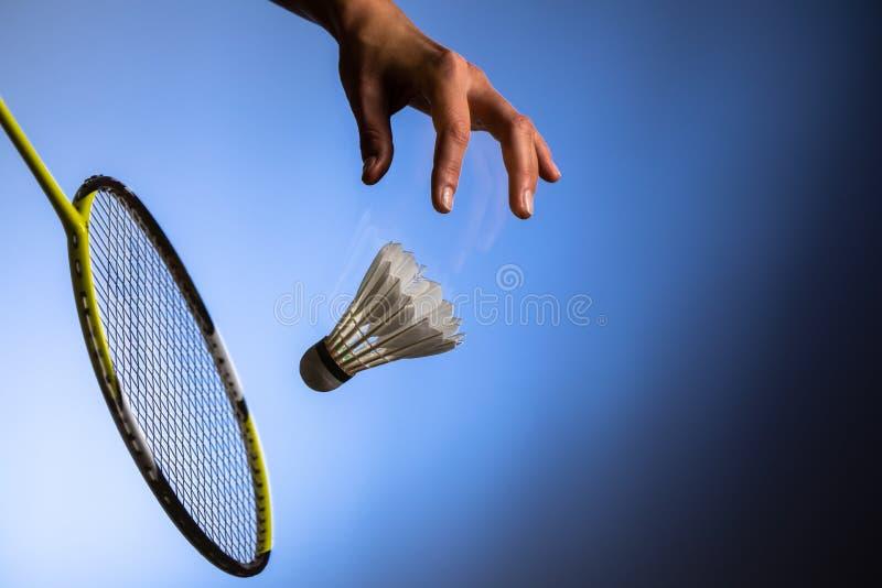 Badminton racket and shuttlecock. Closeup royalty free stock photo