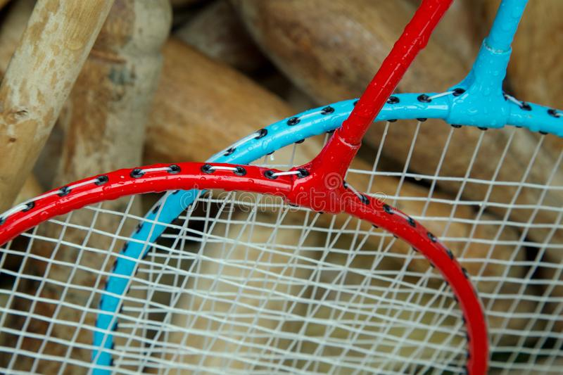 Badminton rackets in a box with wooden croquet mallets royalty free stock image