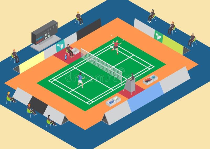 Badminton rywalizaci pojedynczy dopasowanie royalty ilustracja