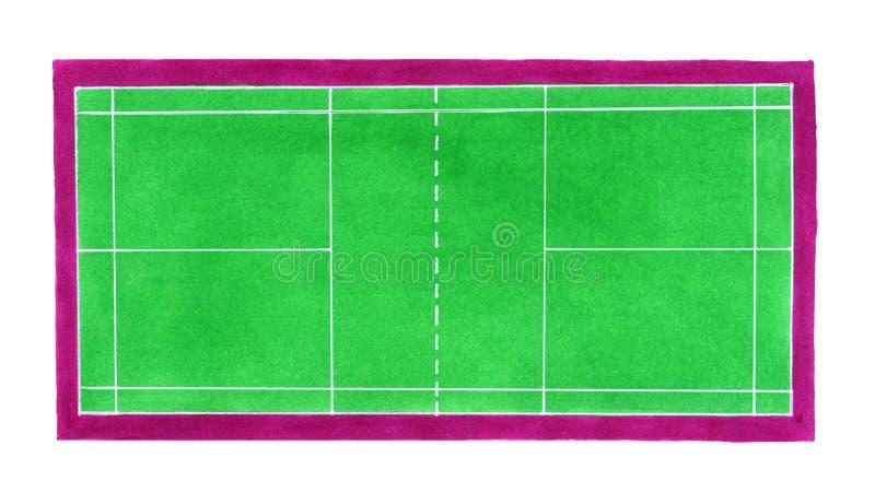 Badminton sąd Pociągany ręcznie zielony badminton lub royalty ilustracja