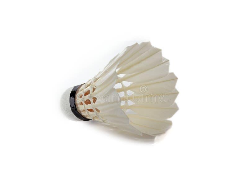 Badminton shuttlecock. Closeup of badminton shuttlecock over white background royalty free stock photos