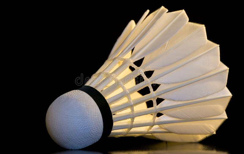 Badminton shuttlecock. On the black background with reflection royalty free stock photography
