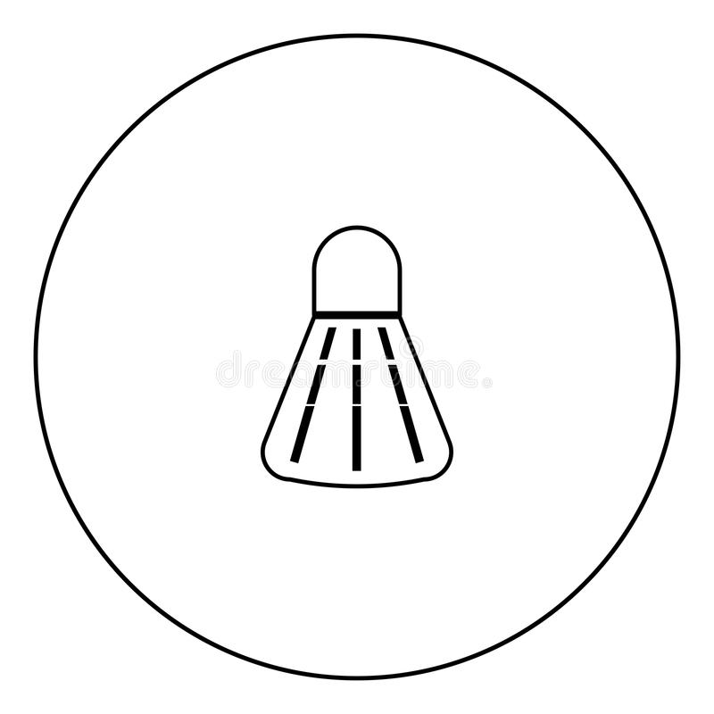 Badminton shuttlecock black icon in circle outline royalty free illustration