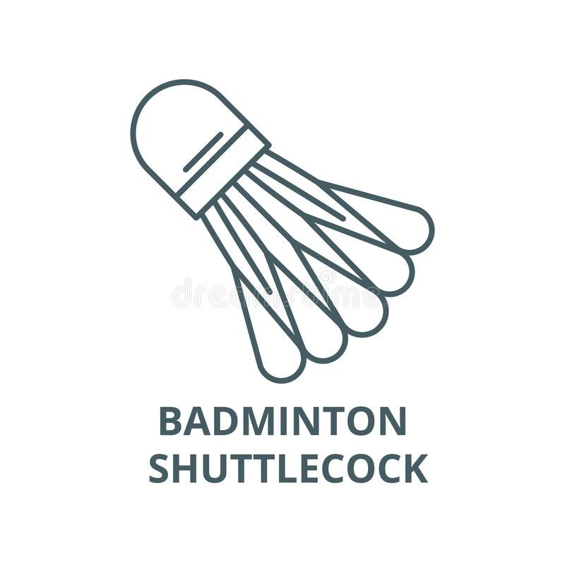 Badminton shuttlecock line icon, vector. Badminton shuttlecock outline sign, concept symbol, flat illustration royalty free illustration