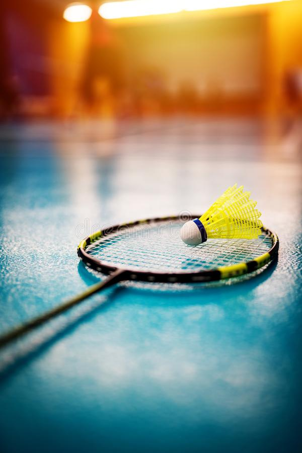 Badminton shuttlecock and racket royalty free stock images