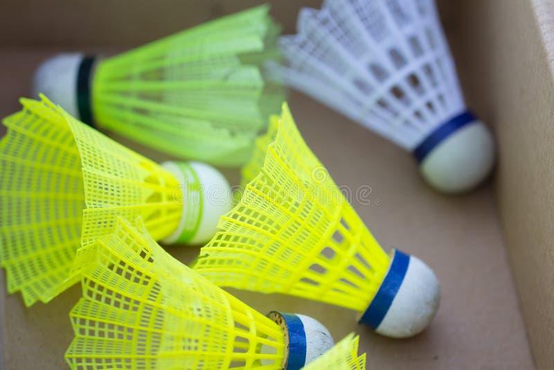 Badminton shuttlecocks in box stock image