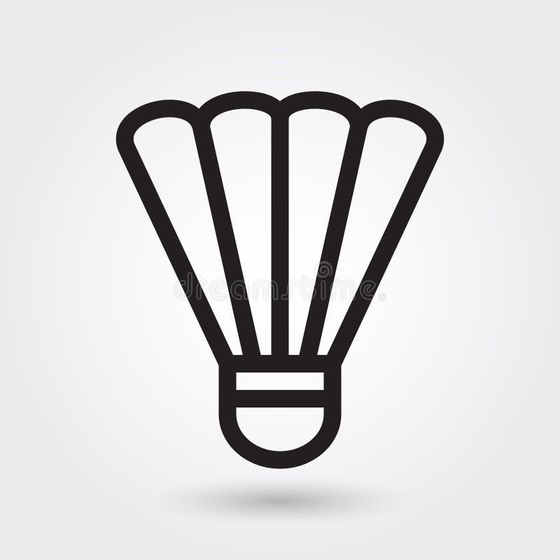 Badminton vectorpictogram, Shuttlepictogram, sportensymbool Het moderne, eenvoudige overzicht, schetst vectorillustratie stock illustratie
