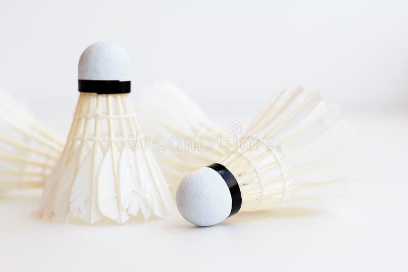 Badmintonfederball lokalisiert auf weißem Hintergrund stockbild