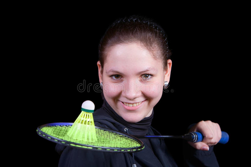 badmintonflickaracket royaltyfria bilder