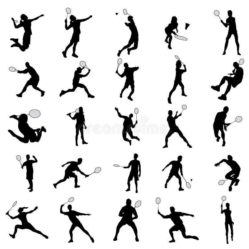 Badmintonkonturuppsättning royaltyfri illustrationer