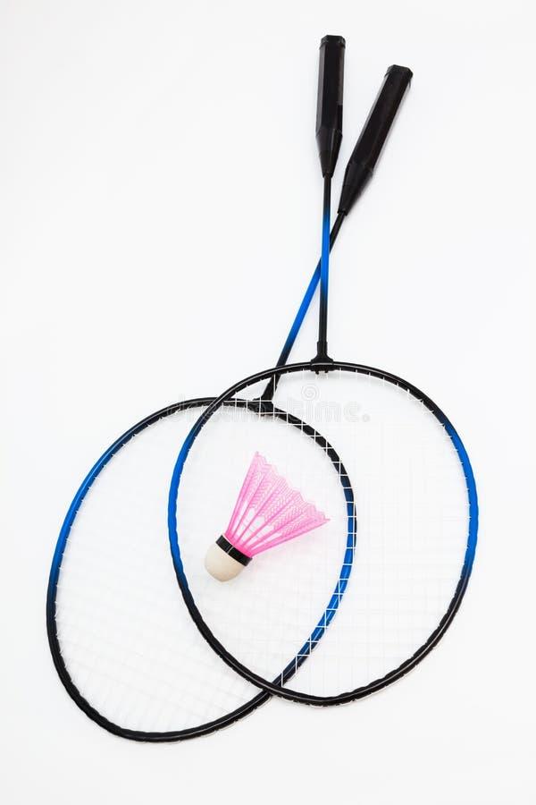 Badmintonracket och fjäderboll royaltyfri fotografi