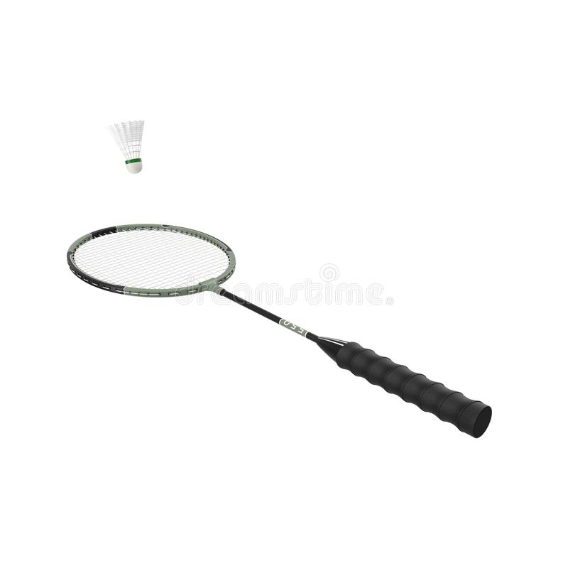 Badmintonracket och fjäderboll som isoleras på vit arkivfoton