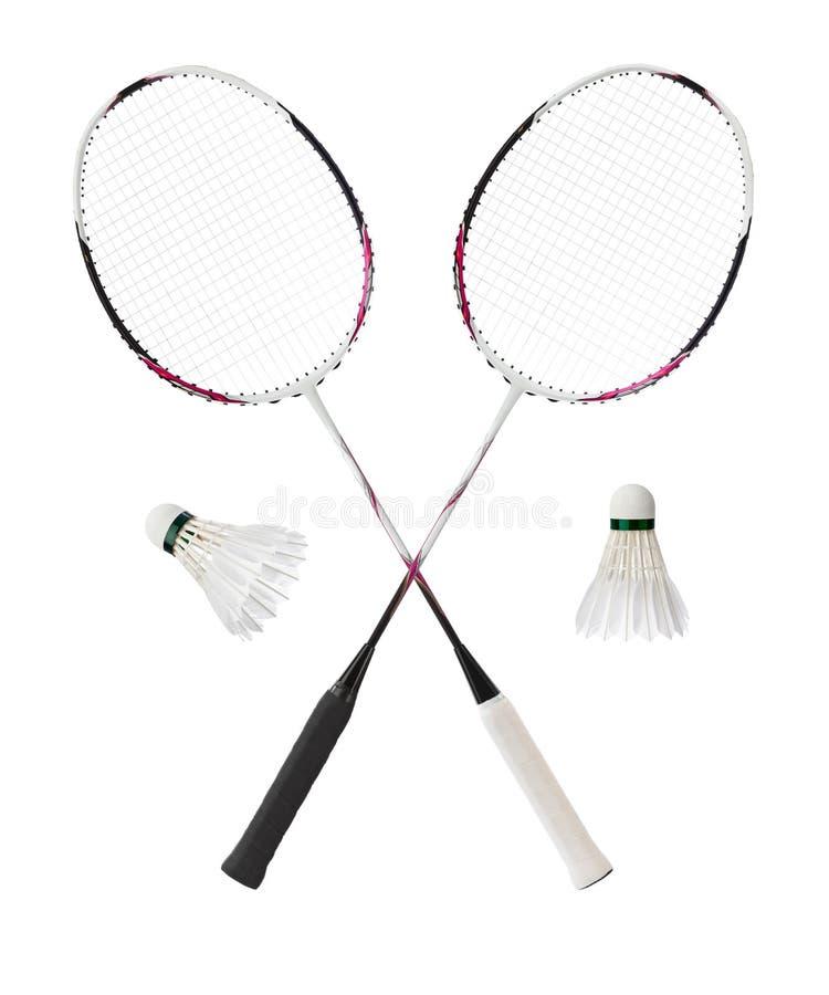 Badmintonracket och fjäderfjäderbollar fotografering för bildbyråer
