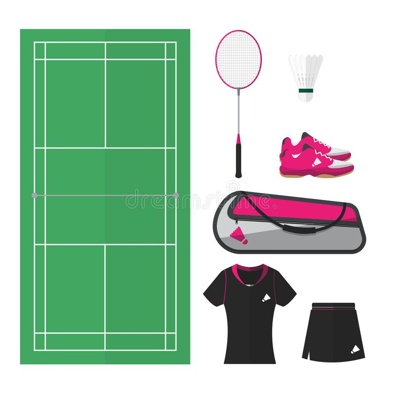 Badmintonsaker 002 stock illustrationer