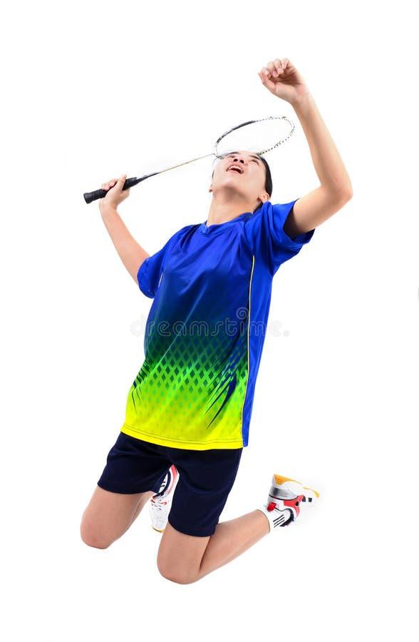 Badmintonspelare i handling royaltyfri bild