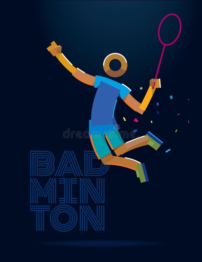 Badmintonspelare pictogram royaltyfri illustrationer