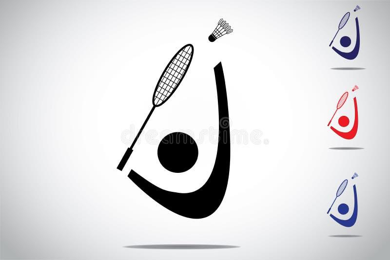 Badmintonspelare som spelar fantastisk fjäderboll med racket stock illustrationer