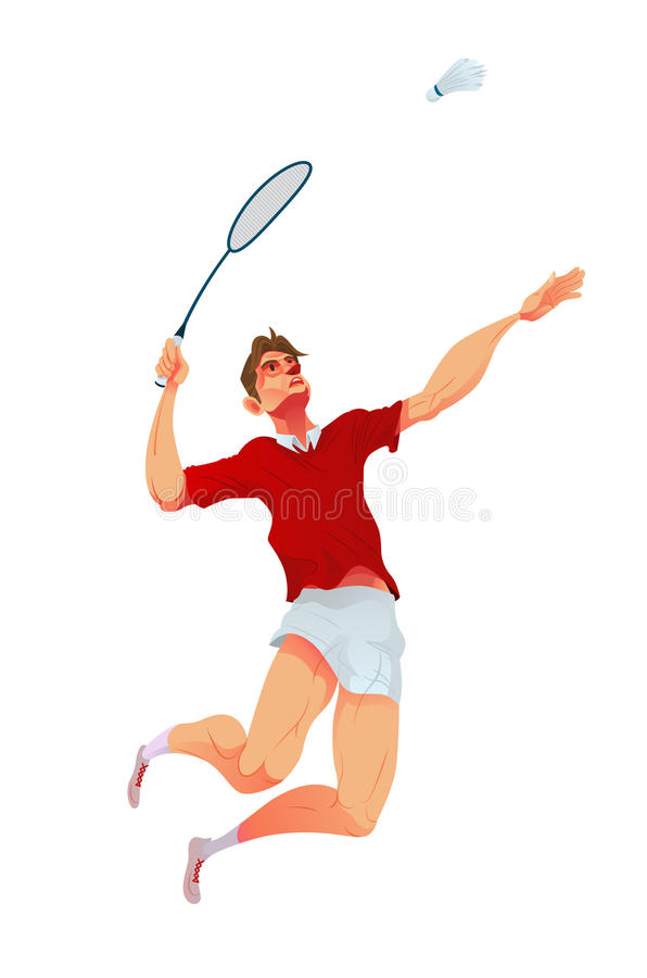 Badmintonspelare, vektorillustration stock illustrationer
